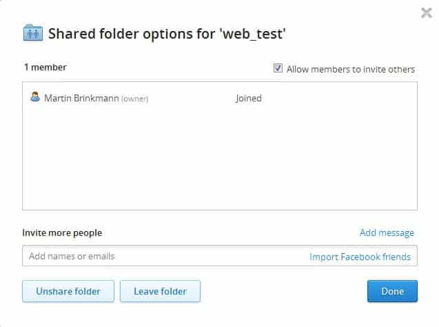 dropbox folder sharing
