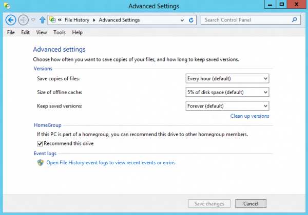 file history advanced settings