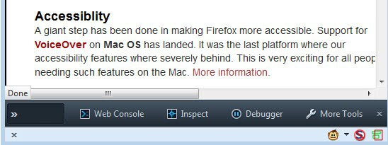 firefox developer toolbar
