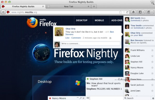 firefox social integration