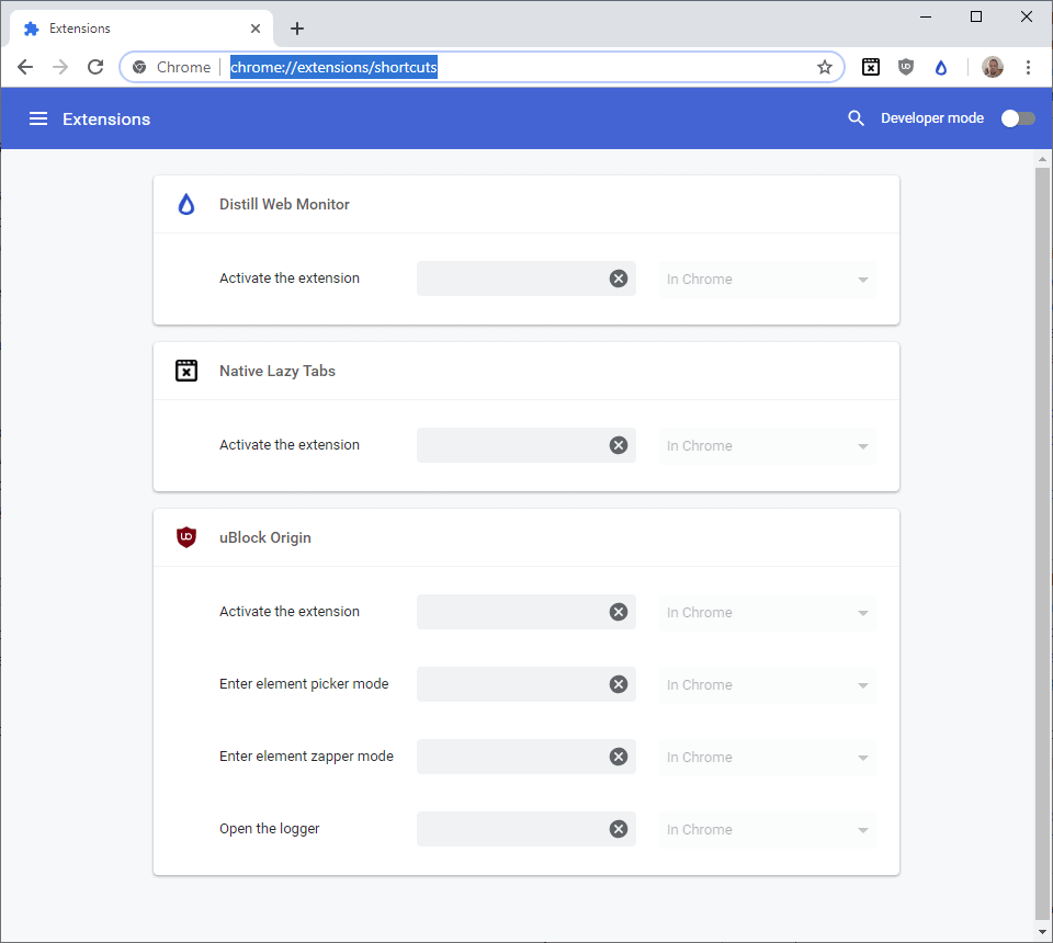 chrome extension shortcuts