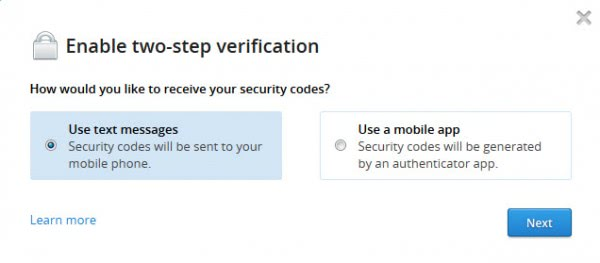 enable two step verification