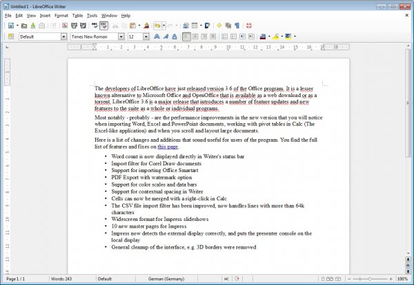 libreoffice writer 3.6