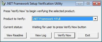 net framework setup verification utility