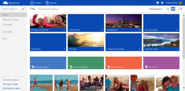 new skydrive homepage