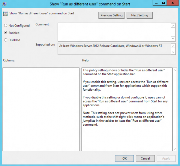 run as different user group policy