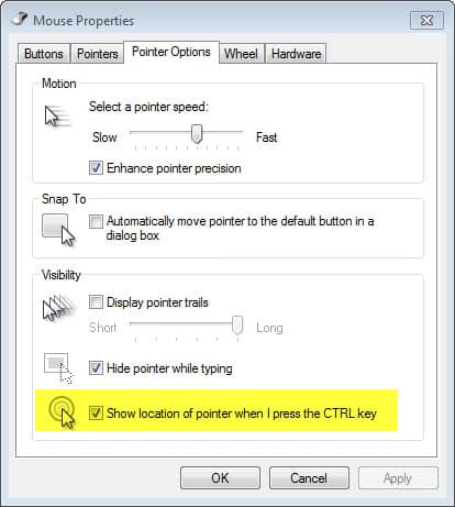 show location of pointer when i press the ctrl key