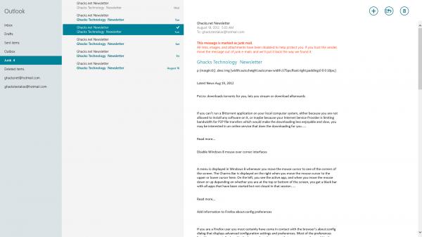 windows 8 mail app