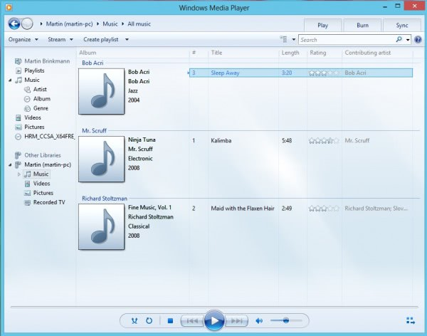 windows media player windows8