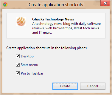 chrome create application shortcuts