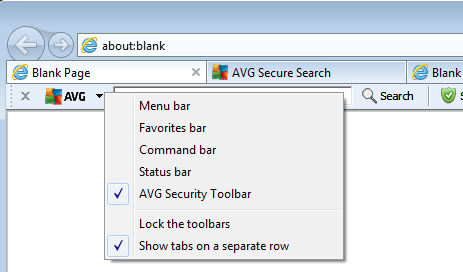disable avg toolbar