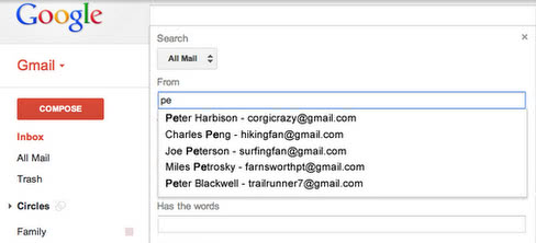 gmail search predicitions