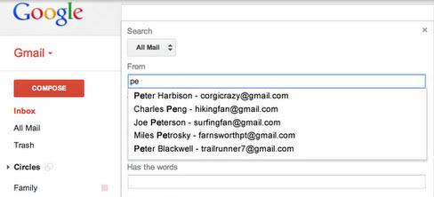 gmail search predicitions