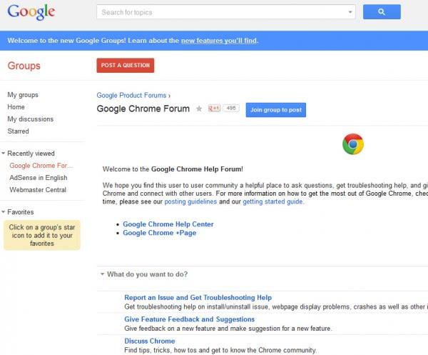 google chrome forum