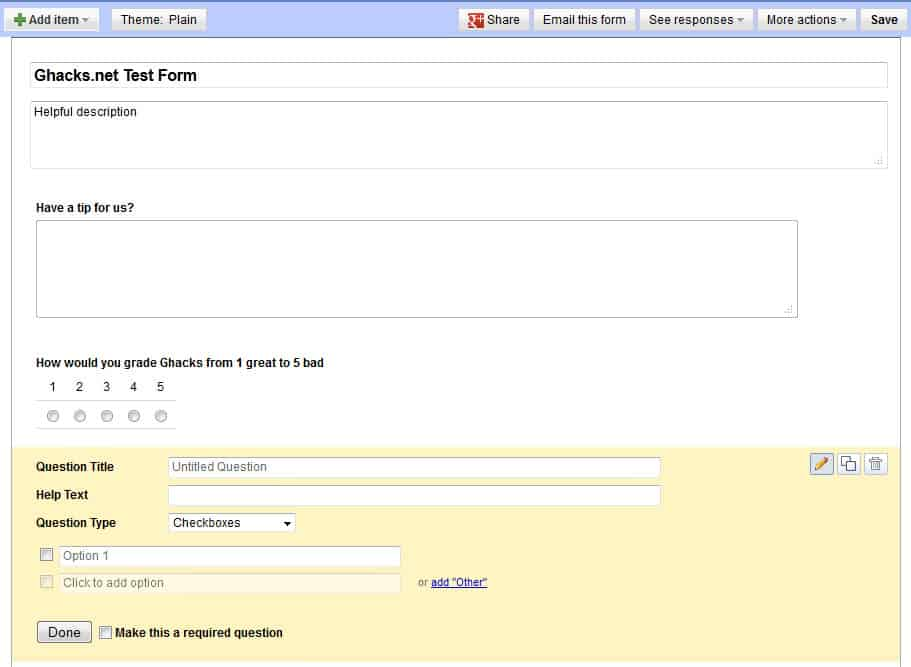 How To Create Forms With Google Docs GHacks Tech News - Google docs forms