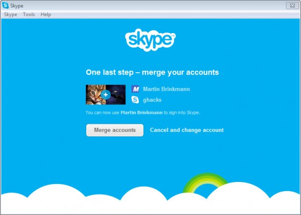 merge skype account