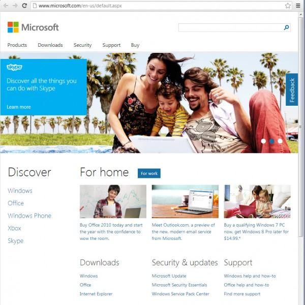 microsoft.com homepage
