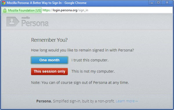 mozilla persona log-in
