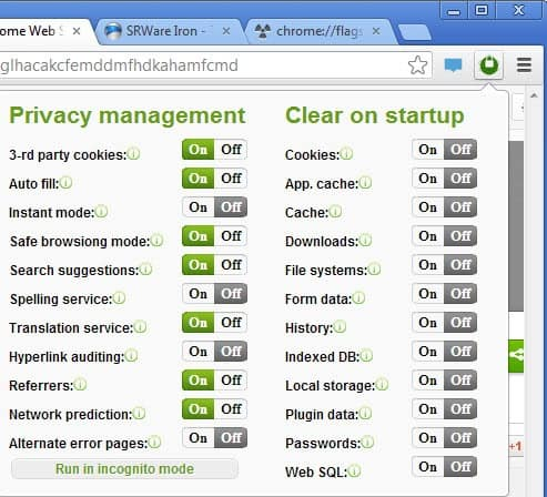 privacy management chrome