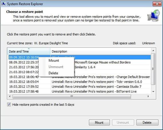 restore individual system restore files