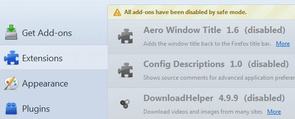 safe mode disable addons