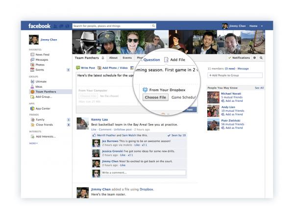 share file dropbox facebook