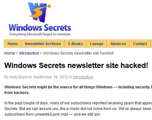 windows secrets hacked