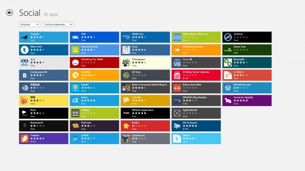 windows store apps listing