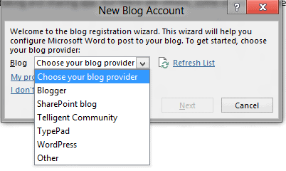 word 2013 choose blog provider