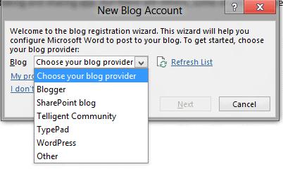 word 2013 choose blog provider