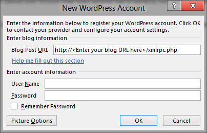 word 2013 new wordpress account