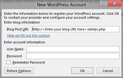 word 2013 new wordpress account