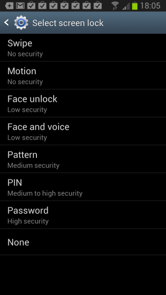 android lock screen password