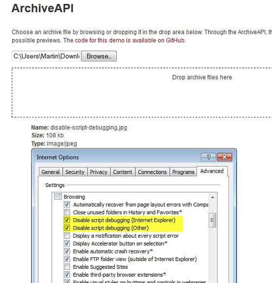 archiveapi display archive files