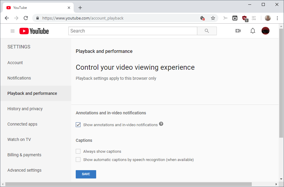 disable show annotations youtube
