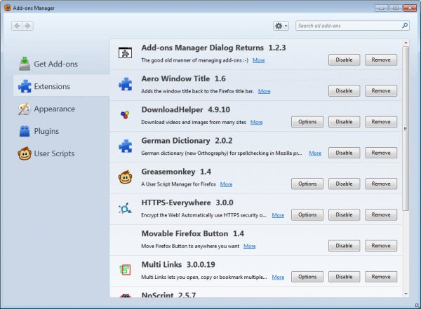 firefox addons manager