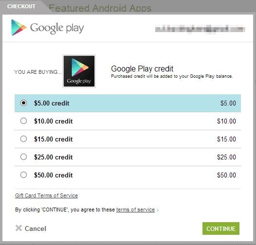 google play store credit