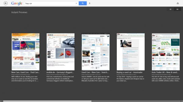 instant previews google