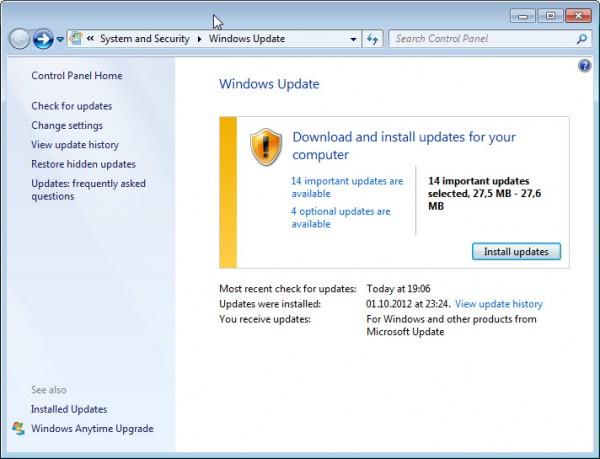 microsoft windows updates october 2012