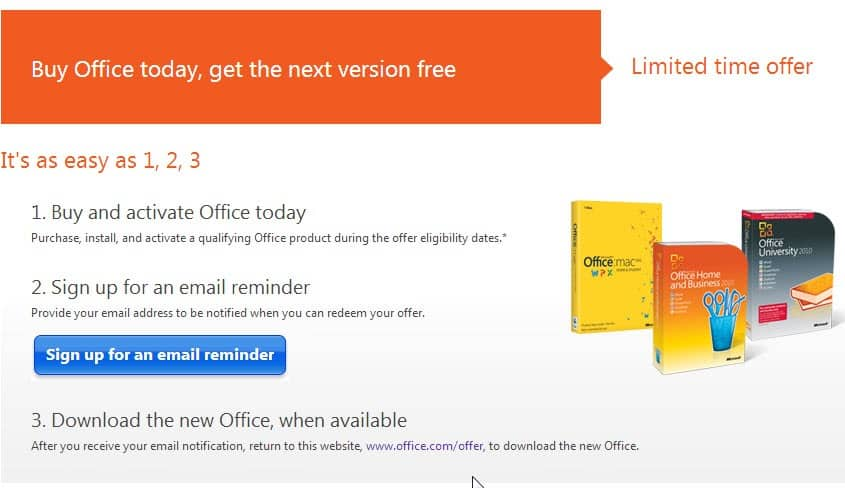 buy office 2010 and get a free office 2013 upgrade