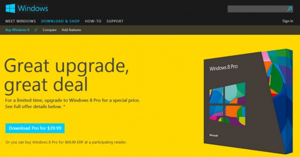 windows 8 price