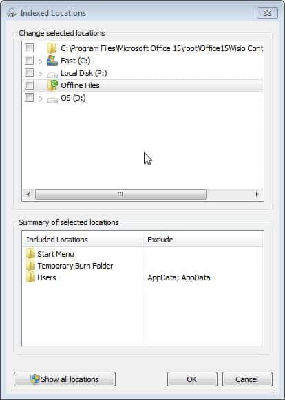windows search locations