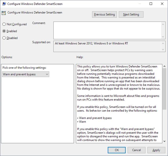 "Turn off ""Windows protected your PC"" (Windows SmartScreen)"