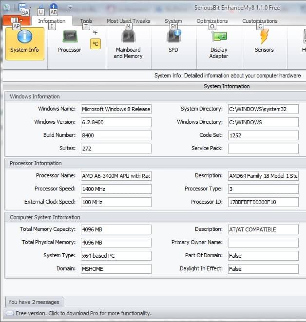 enhancemy8 system info