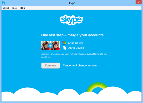 merge messenger skype account