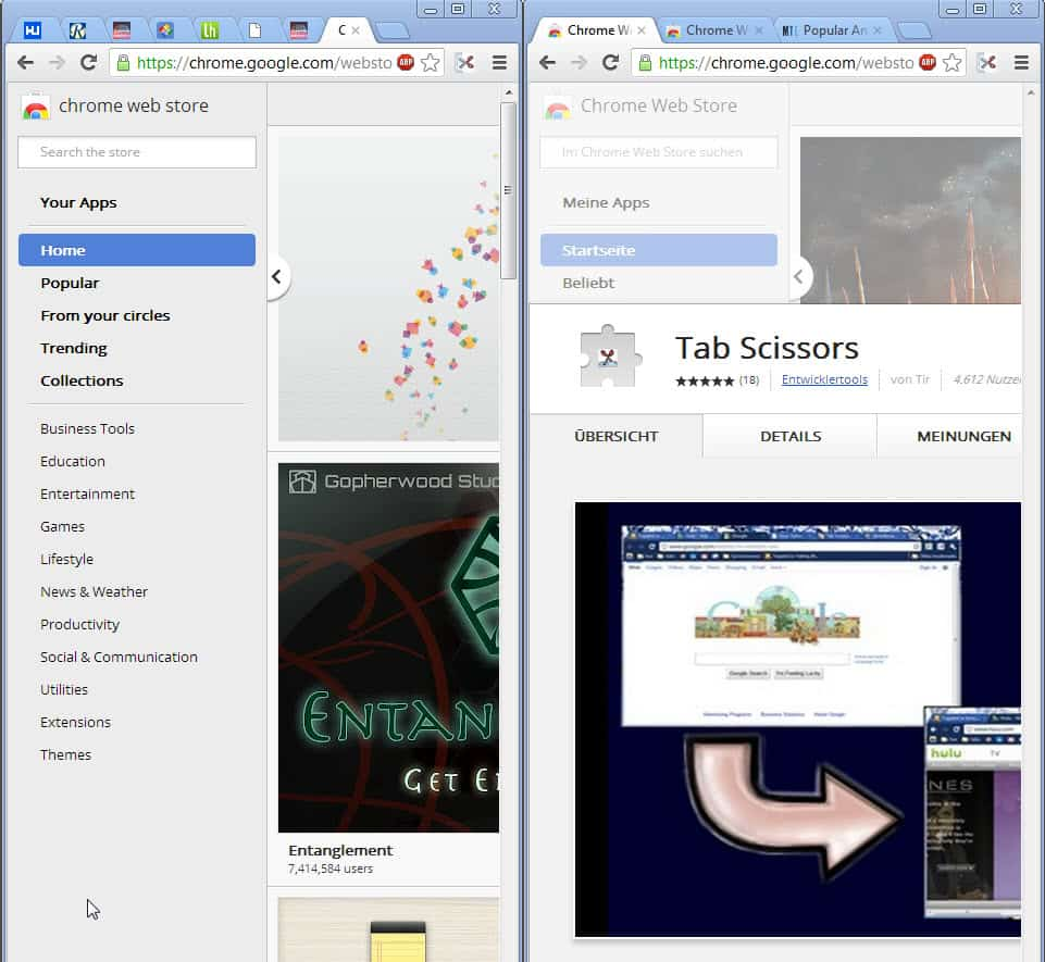 split chrome browser window