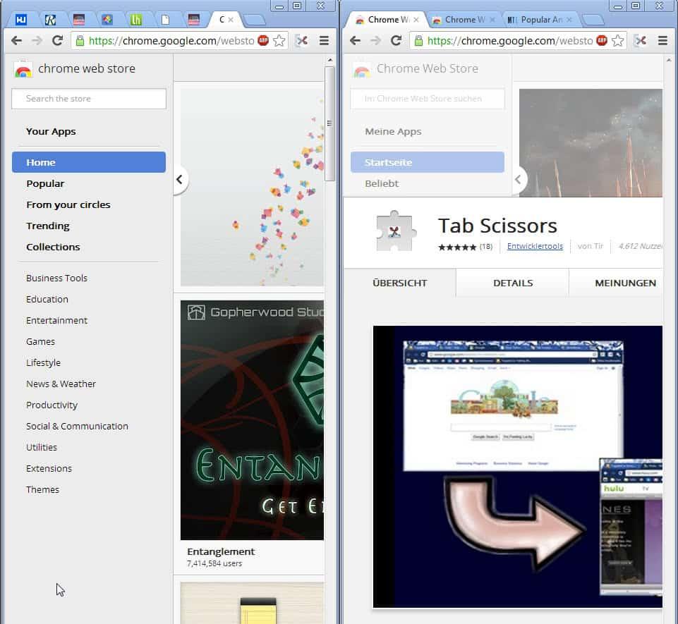 split chrome browser window