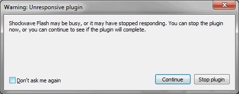 warning unresponsive plugin