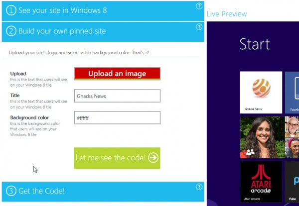 windows 8 start screen icon websites