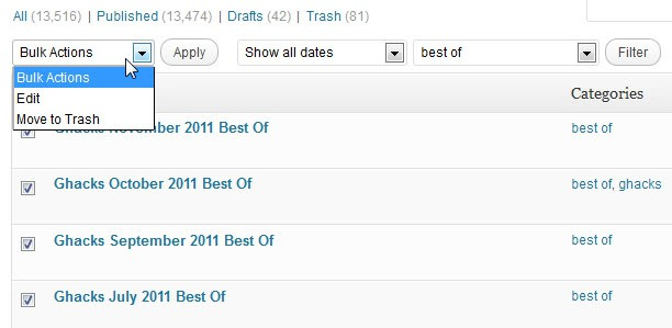 wordpress edit categories